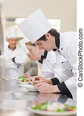 culinaire, salades, classe, préparer