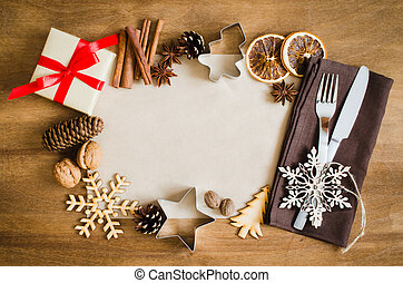 Culinary Background. Christmas Postcard with Empty Paper.