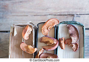 Culinary background. Dried apples, book on the table and the...
