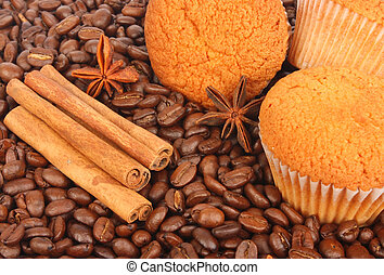 Culinary background - Muffins, coffee beans and spice for ...