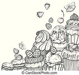 Culinary Background with cupcakes and ice cream, black and white