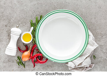 Culinary background with empty plate and space for a text,...