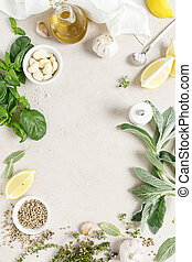 Culinary background with herbs and spices