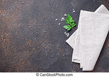 Culinary background with napkin and parsley