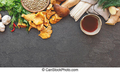 Culinary background with various ingredients, rustic ...