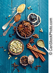 culinary background with various spices for Christmas mulled...