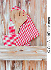 Culinary background with wooden spoon and fork on rustic ...