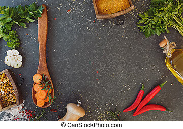 Culinary background - Wooden spoon full of sliced carrot, ...