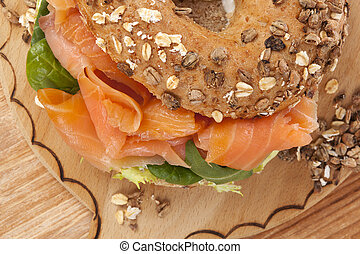 Culinary bagel eating. - Delicious bagel eating. Fresh baked...