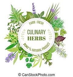 Culinary herbs round emblem
