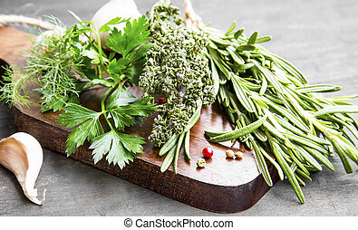Culinary Herbs with Parsley, Dill, Rosemary and Thyme