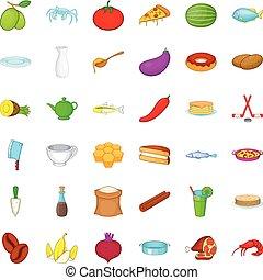 Culinary icons set, cartoon style