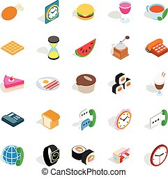 Culinary icons set, isometric style