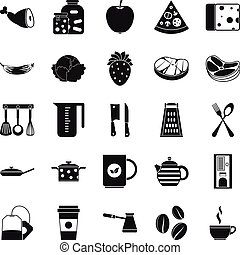 Culinary icons set, simple style