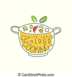 Culinary logo design with pan, fresh vegetables and cooking with love lettering. Hand drawn cookware with food. Line label for cafe, home kitchen, food studio. Vector on white.