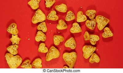 culinary love Stop motion - cookies in the shape of hearts...