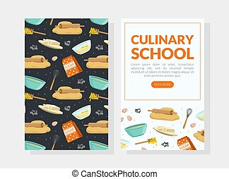 Culinary School Landing Page, Cooking Recipe, Homemade Food Website, Onboard Screen Cartoon Style Vector Illustration