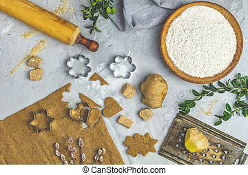 Culinary Spring or Christmas food background.