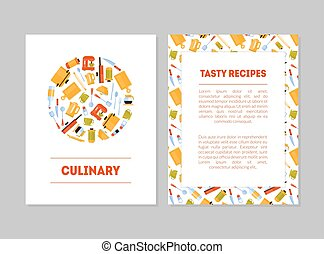 Culinary, Tasty Recipes Banner Templates Set, Cards with Place for Text and Kitchen Utensils for Food Preparation, Label, Branding Identity, Certificate, Flyer Vector Illustration