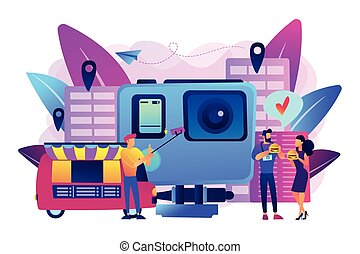 Culinary tourism concept vector illustration.
