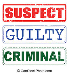 culpado, selo, suspeito, criminal