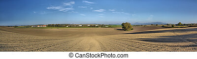 Panorama of cultivated field with beautiful countryside as background