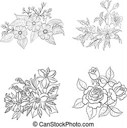 Cultivated flowers, outline, set - Set of cultivated...