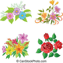 Cultivated flowers, set