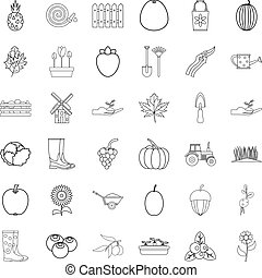 Cultivated icons set, outline style