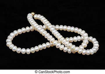 Cultivated pearl necklace against a black background.