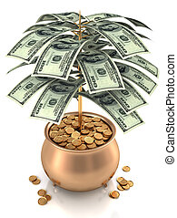Cultivating Cash - Pot of gold full of gold coin and dollars...