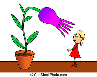 cartoon drawing - adorable little girl cultivating flower