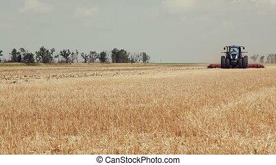 Cultivation tractor acreage. Tractors preparing land for...