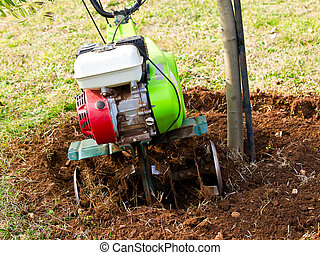 cultivator - cultivating land around olive tree