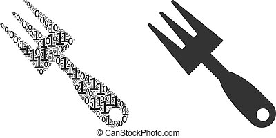 Cultivator Rake Collage of Binary Digits