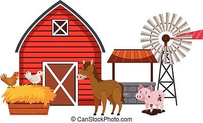cultive animais, celeiro vermelho