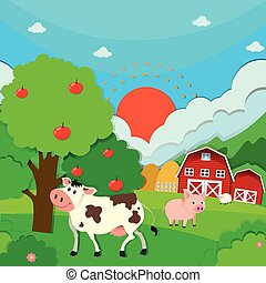 cultive animais, cena, celeiro