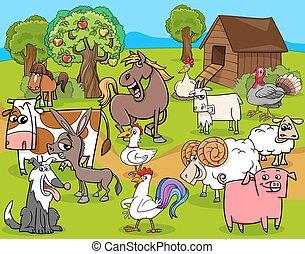 cultive animais, grupo, caricatura