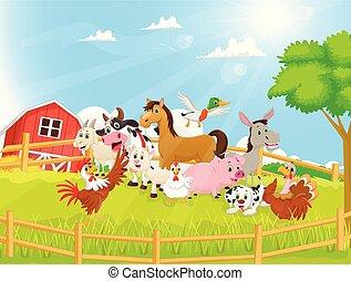 cultive animales, caricatura, ilustración