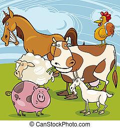 cultive animales, grupo, caricatura