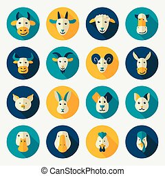 cultive animales, plano, iconos, con, largo, sombra