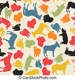cultive animales, seamless, patrón