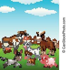 cultive campo, caricatura, animal