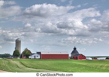 cultive campo, edifícios, silo