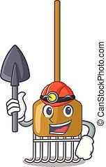 cultive ferramenta, ancinho, mineiro, agricultura, mascote