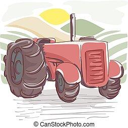 cultive trator, ilustração