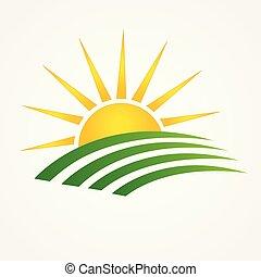 cultives, groene, swooshes, logo, zon, landbouw