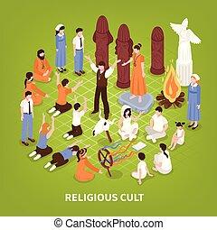 culto, isométrico, religioso, plano de fondo