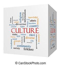 cultura, 3d, cubo, palavra, nuvem, conceito