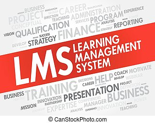 cultura, amministrazione, sistema, (lms), parola, nuvola, collage